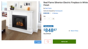 Brand New Real Flame Silverton Electric Fireplace in White