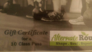 Gift certificate for 10 class pass at Alternative Routes