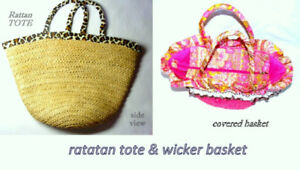 #1 Rattan Tote $15, #2 cloth covered Basket $20, both like new