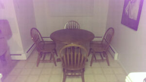 oak dining table set with 4 chairs and leaf