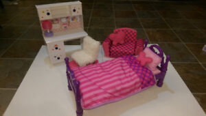 """Doll Desk and Chair, Bed and Flip open sofa (for 18"""" dolls) $25"""