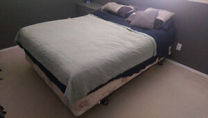 Queen size mattress, boxspring and bed frame.
