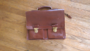 Vintage French leather school bag