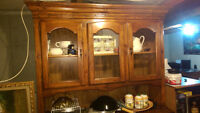 REAL WOOD CHINA CABINET AND HUTCH 2 GLASS ARE MISSING GOOD CONDI