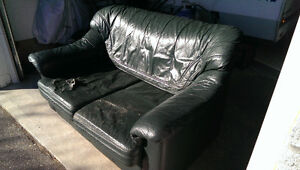 Green Leather Love Seat - FREE to a good or bad home