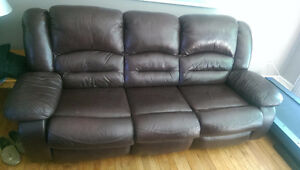 Leather Dual Recliner Couch
