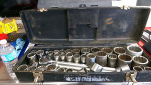 """HUGE 3/4"""" drive sockets and ratchet, brand names USA and Canada"""