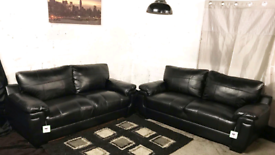 """ New/ Ex display dfs Black real leather 3+3 seater sofas"