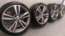 "Genuine BMW 3 4 Series 19"" 442 M Sport Alloy Wheels & Tyres F30 31 32 33 E90 E92 Ferric"