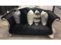 French style blue velvet 3&2 sofa