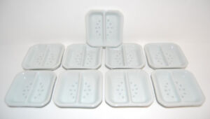 NEW White Rice Grain Square Divided Sauce Dishes - 9 Pieces