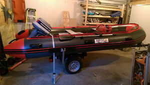 15ft inflatable zodiac style boat with 20hp 2stroke evinrude