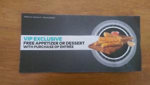 Free Cineplex VIP Voucher for Free Appetizer or dessert