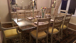 Elegant Handcrafted Imported Glass top Dining Table