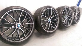 "4x BMW 3 4 5 6 7 Series 20"" 405 M Performance style Alloy Wheels & Tyres F30 31 32 33 F10 12 E92 Gre"