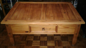 solid pine coffee table with wrought iron accents - rustic style