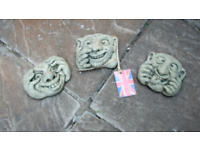 Stone Ugly Faces as a group of 3 - Wall decoration