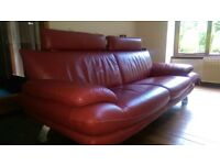 Dark Red Leather Suite 3 + 2