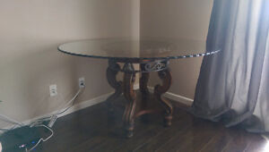 Antique looking solid wood-marble-glass top table