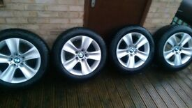 "Genuine BMW 5 6 Series 17"" Alloy Wheels 327 Style & 225 55 17 Dunlop Winter tyres F10 F11 F12 F13"