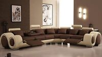 Special! Modern Leather Sectional + 2 Recliners! Free Delivery