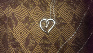 Silver Heart Necklace with a Diamond
