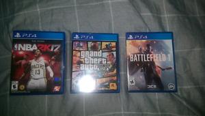 NBA 2k17, GTA 5, Battlefield 1 - PS4