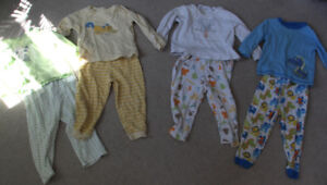 4 Pairs of  2piece boys/gender neutral pajamas size 18-24 months