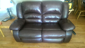 Leather Dual Recliner Loveseat