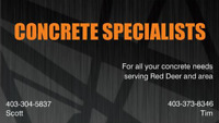 Concrete Specialists Serving Central AB for more than 12 years!