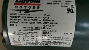 Bran New Lincoln Electric Motor 2HP 3-Phase 230/460V 3450rpm