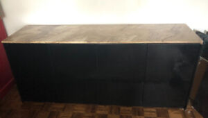 Stunning real marble and black laqueur dresser or entert. unit.