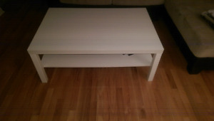 White Ikea table for living room.