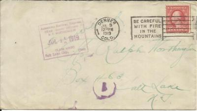 American Railway Express-Salt Lake City JUL/11/1919 CLAIM AGENT from Denver - Salt Lake City Express