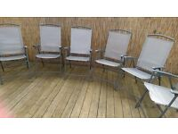 SET SIX SILVER GARDEN CHAIRS COMFORTABLE STURDY GARDEN CHAIRS PATIO FURNITURE GOOD CONDITION