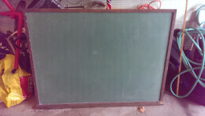"Green 43"" x 60"" chalkboard with frame and ledge"