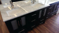 "60"" Solid Wood Bathroom Vanity w/ Marble Top"
