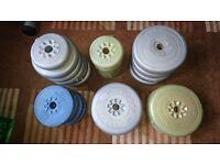 York and Weider vinyl barbell weights