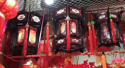 CHINESE XXL 36cm BLACK DRAGON PALACE LANTERN LIGHT JAPANESE PARTY DECO B9