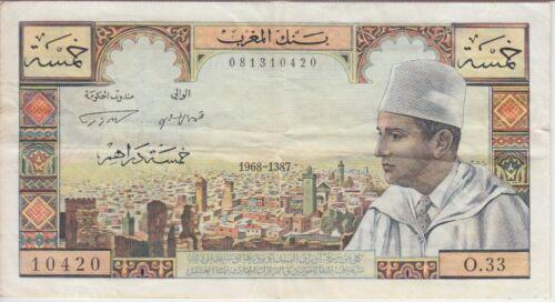 Morocco Banknote P53e-0420 5 Dirhams 1968-1387, VF