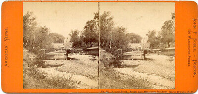 ARTIST BROOK BRIDGE -MILL NORTH CONWAY N.H. JOHN SOULE BOSTON MA STEREOVIEW