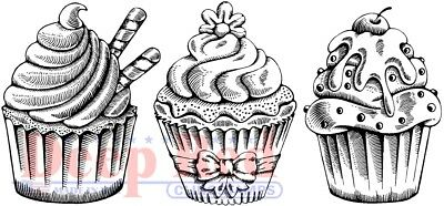 Deep Red Border (Deep Red Stamps Cupcake Border Rubber Cling)