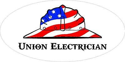 3 - Union Electrician Us Flag Hard Hat Oilfield Toolbox Helmet Sticker H263