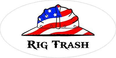 3 - Rig Trash Us Flag Hard Hat Roughneck Oilfield Toolbox Helmet Sticker H240