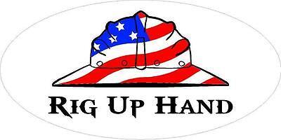 3 - Rig Up Hand Us Flag Hard Hat Union Oilfield Toolbox Helmet Sticker H284
