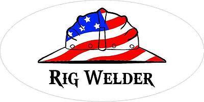 3 - Rig Welder Hand Us Flag Hard Hat Union Oilfield Toolbox Helmet Sticker H282