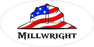 3 - Millwright Us Flag Hard Hat Hand Union Oilfield Toolbox Helmet Sticker H285