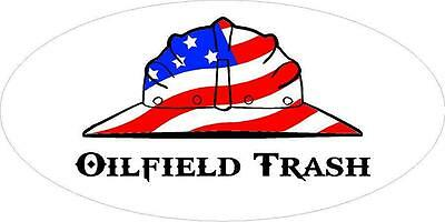 3 - Oilfield Trash Us Flag Hard Hat Roughneck Toolbox Helmet Sticker H259