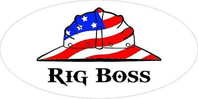 3 - Rig Boss Us Flag Hard Hat Union Oilfield Toolbox Helmet Sticker H233