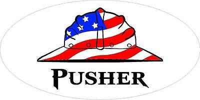 3 - Pusher Flag Hard Hat Union Oilfield Toolbox Helmet Sticker H278